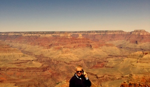 On the phone at the Grand Canyon.