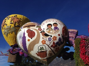 Looking at floats from the Pasadena Rose Parade on a beautifully clear day.