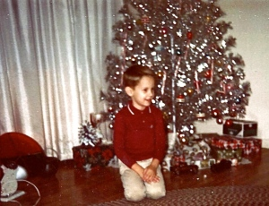 I couldn't wait until Christmas even if I had only asked for a toaster and a clock. Notice the color wheel in the left corner of the photo. I thought the silver tree was beautiful.