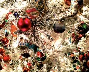 A good friend's tree up close. He claims not to visit department stores for ornaments.