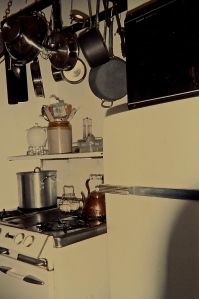The tiny cottage kitchen. That old O'Keefe & Merritt stove was the only redeeming quality.
