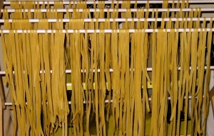 Drying pasta.