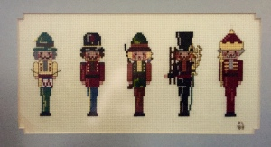These are the cross-stitched nutcrackers my sister Karen made for me over 25 years ago. I could never achieve this level of intricacy.