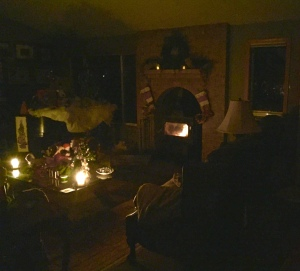 The living room with candles after the storm wiped out our power.