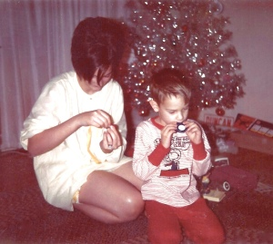 My sister and I on Christmas morning before we read our letters from Santa.