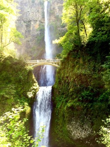 Multnomah Falls east of Portland along the Columbia River on the Oregon side.